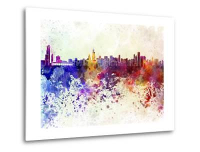 Chicago Skyline in Watercolor Background-paulrommer-Metal Print