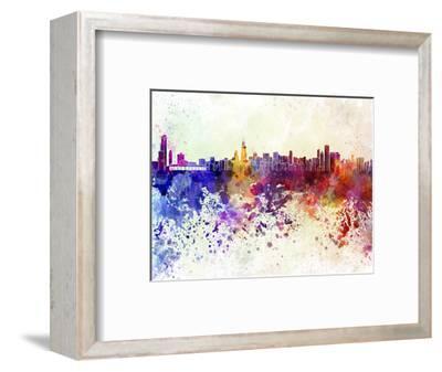 Chicago Skyline in Watercolor Background-paulrommer-Framed Art Print