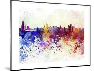 Chicago Skyline in Watercolor Background-paulrommer-Mounted Art Print