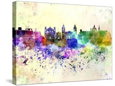 Valletta Skyline in Watercolor Background-paulrommer-Stretched Canvas Print