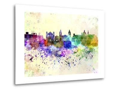 Valletta Skyline in Watercolor Background-paulrommer-Metal Print