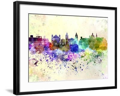 Valletta Skyline in Watercolor Background-paulrommer-Framed Art Print