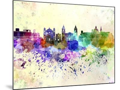 Valletta Skyline in Watercolor Background-paulrommer-Mounted Art Print