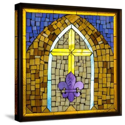 Stained Glass Cross III-Kathy Mahan-Stretched Canvas Print