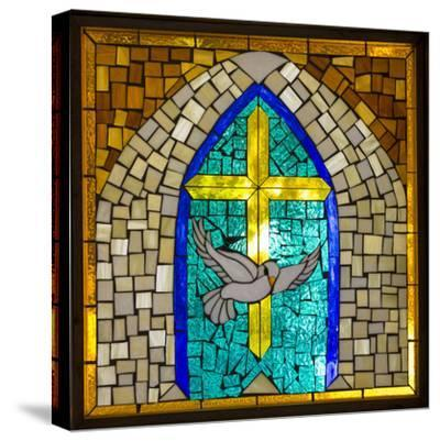 Stained Glass Cross V-Kathy Mahan-Stretched Canvas Print