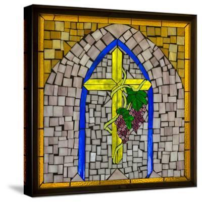 Stained Glass Cross I-Kathy Mahan-Stretched Canvas Print