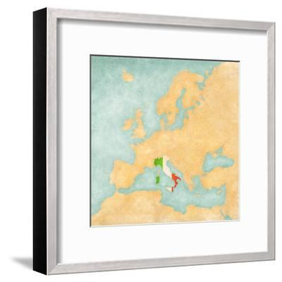 Map of Europe - Italy (Vintage Series)-Tindo-Framed Art Print
