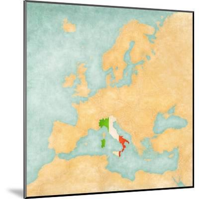 Map of Europe - Italy (Vintage Series)-Tindo-Mounted Art Print