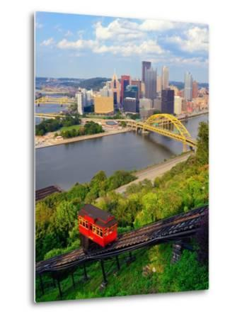 Incline Operating in Front of the Downtown Skyline of Pittsburgh, Pennsylvania, Usa.-SeanPavonePhoto-Metal Print