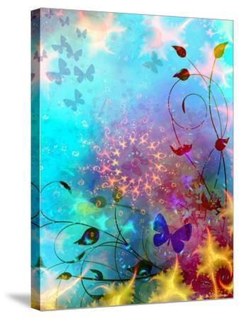 Turquoise Sea and Sky with Butterflies, 2014-AlyZen Moonshadow-Stretched Canvas Print