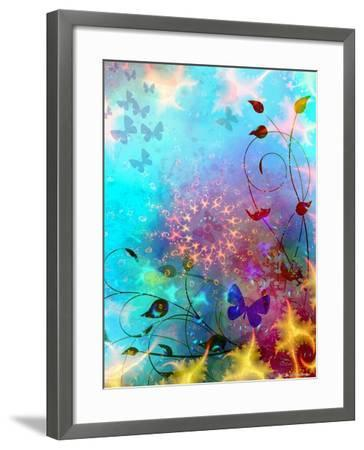 Turquoise Sea and Sky with Butterflies, 2014-AlyZen Moonshadow-Framed Giclee Print