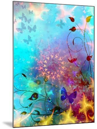 Turquoise Sea and Sky with Butterflies, 2014-AlyZen Moonshadow-Mounted Giclee Print
