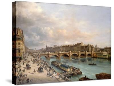 La Cité et le Pont-Neuf vus du quai du Louvre-Giuseppe Canella-Stretched Canvas Print