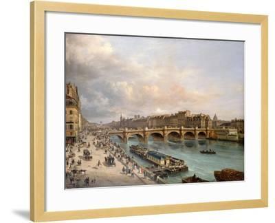 La Cité et le Pont-Neuf vus du quai du Louvre-Giuseppe Canella-Framed Giclee Print