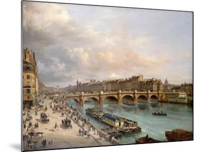 La Cité et le Pont-Neuf vus du quai du Louvre-Giuseppe Canella-Mounted Giclee Print
