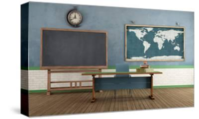 Retro Classroom without Student-archidea-Stretched Canvas Print