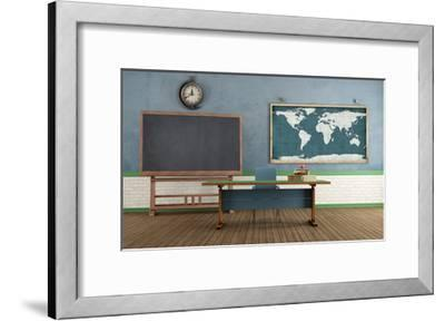 Retro Classroom without Student-archidea-Framed Art Print