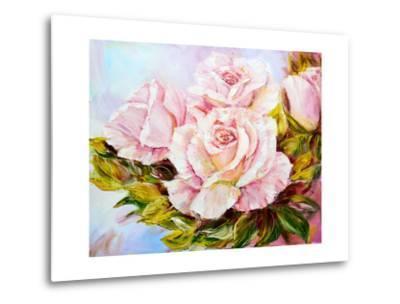 Beautiful Roses, Oil Painting on Canvas-Valenty-Metal Print