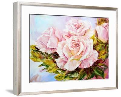Beautiful Roses, Oil Painting on Canvas-Valenty-Framed Art Print