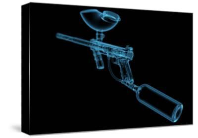 Paintball Gun (3D Xray Blue Transparent)-sauliusl-Stretched Canvas Print