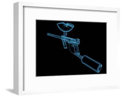 Paintball Gun (3D Xray Blue Transparent)-sauliusl-Framed Art Print