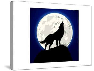 Detailed Illustration of a Howling Wolf in Front of the Moon, Eps 10 Vector-unkreatives-Stretched Canvas Print