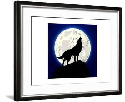 Detailed Illustration of a Howling Wolf in Front of the Moon, Eps 10 Vector-unkreatives-Framed Art Print