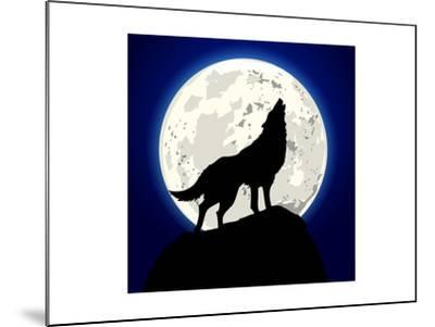 Detailed Illustration of a Howling Wolf in Front of the Moon, Eps 10 Vector-unkreatives-Mounted Art Print