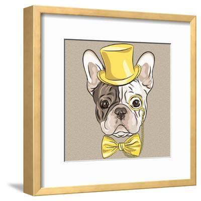 Vector Funny Cartoon Hipster French Bulldog Dog-kavalenkava volha-Framed Art Print
