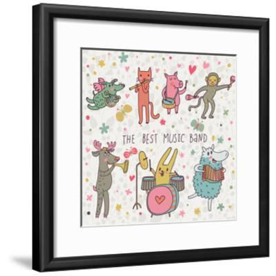 The Best Music Band  Cartoon Animals Playing on Various Musical Instruments  - Drums, Accordion, Flu Art Print by smilewithjul | Art com