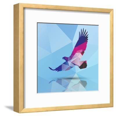 Geometric Polygonal Eagle, Pattern Design, Vector Illustration-BlueLela-Framed Art Print