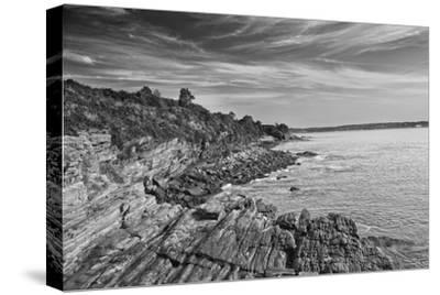 Cliff Walk Newport Rhode Island B/W--Stretched Canvas Print
