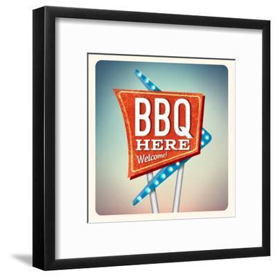 Retro Neon Sign BBQ-anna42f-Framed Art Print