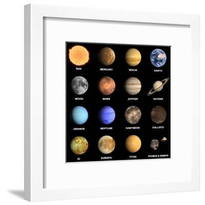 Planets and Some Moons of the Solar System-Tristan3D-Framed Art Print