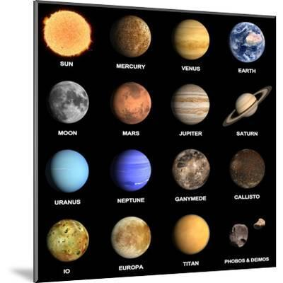 Planets and Some Moons of the Solar System-Tristan3D-Mounted Art Print