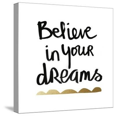 Believe - White and Gold-Linda Woods-Stretched Canvas Print