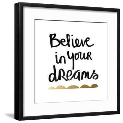 Believe - White and Gold-Linda Woods-Framed Art Print
