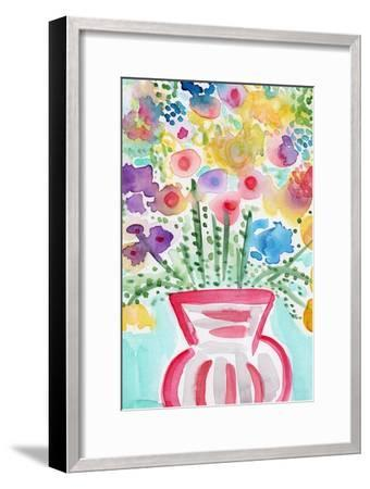 Red Vase of Flowers-Linda Woods-Framed Art Print