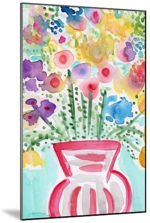 Red Vase of Flowers-Linda Woods-Mounted Art Print