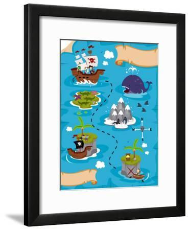 Treasure Map-lenm-Framed Art Print