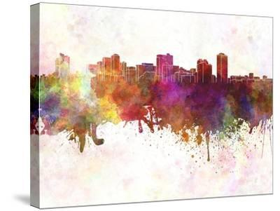 Manila Skyline in Watercolor Background-paulrommer-Stretched Canvas Print