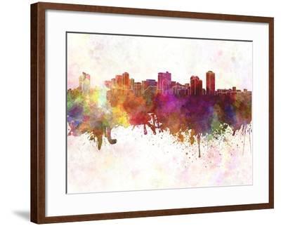 Manila Skyline in Watercolor Background-paulrommer-Framed Art Print