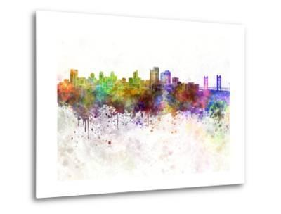 Sacramento Skyline in Watercolor Background-paulrommer-Metal Print