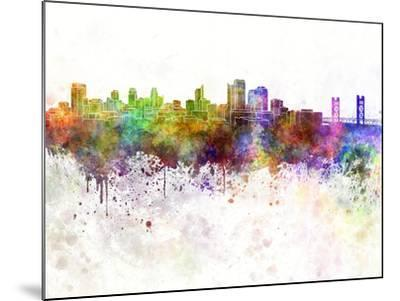 Sacramento Skyline in Watercolor Background-paulrommer-Mounted Art Print