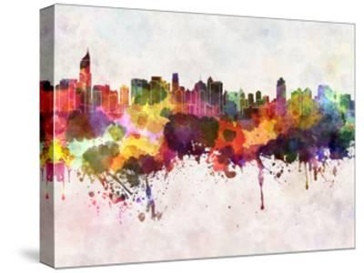 Jakarta Skyline in Watercolor Background-paulrommer-Stretched Canvas Print