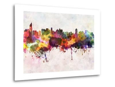 Jakarta Skyline in Watercolor Background-paulrommer-Metal Print