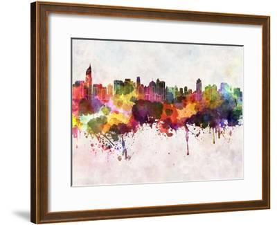 Jakarta Skyline in Watercolor Background-paulrommer-Framed Art Print