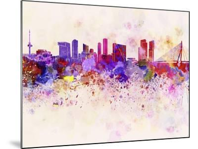Rotterdam Skyline in Watercolor Background-paulrommer-Mounted Art Print