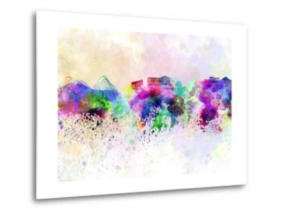 Athens Skyline in Watercolor Background-paulrommer-Metal Print