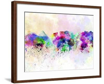 Athens Skyline in Watercolor Background-paulrommer-Framed Art Print